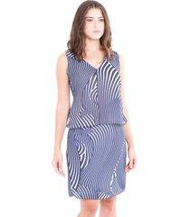 vestido adriana candido em crepe estampado azul