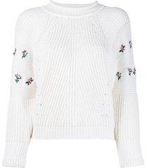philosophy di lorenzo serafini rose-embroidered raglan sleeved sweater