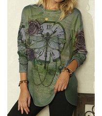 camicetta asimmetrica o-collo manica lunga stampata vintage per donna