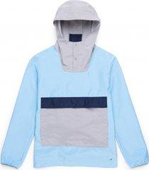 herschel jas supply co. men's voyage anorak alaskan blue light grey crosshatch-s