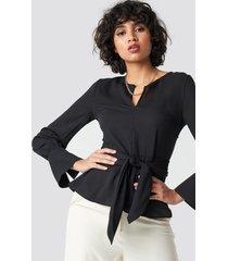 trendyol band detailed blouse - black