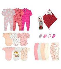 kit enxoval roupa de bebê + naninha baby menina - 20 peças rosa