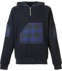 mostly heard rarely seen plaid zipped neck hoodie - blue