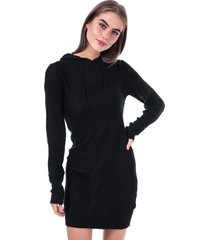 brave soul knitted hoody jumper dress size 14 in black