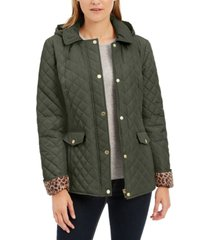 charter club quilted leopard-print-trim hooded jacket, created for macy's
