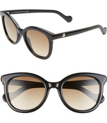 women's moncler 52mm sunglasses - shiny black/ gradient brown