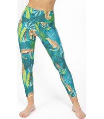 legging 7/8 tropical cheetah deportivo verde kimonada