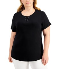 karen scott plus size lace-up t-shirt, created for macy's