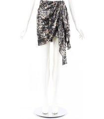 isabel marant ixora metallic black printed silk draped mini skirt black/metallic sz: m