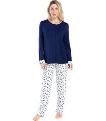 pijama de inverno feminino aberto azul floral - azul/branco/floral - feminino - viscose - dafiti