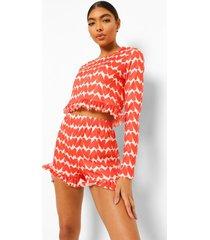 tall valentijns pyjama set met shorts en geplooide zoom, red