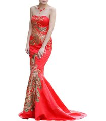 sweetheart phoenix applicated long mermaid red satin women formal evening dresse