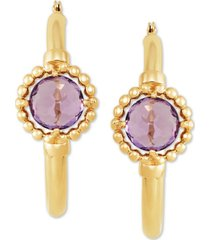 amethyst (1-1/2 ct. t.w.) hoop earrings in 10k yellow gold