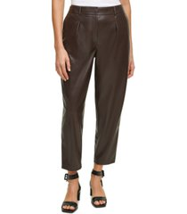 calvin klein pleat-front faux-leather cropped pants