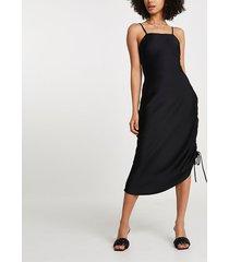 river island womens black square neck ruched midi slip dress