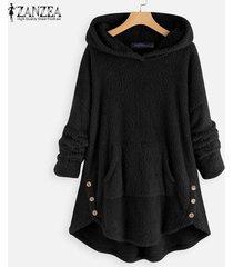 zanzea abrigos de lana con capucha de manga larga para mujer sudaderas con capucha sueltas ocasionales -negro