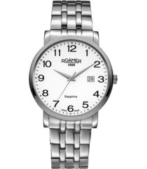 roamer men's 3 hands date 40 mm dress watch in stainless steel case and bracelet