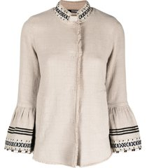 bazar deluxe embroidered flared sleeves buttoned jacket - neutrals