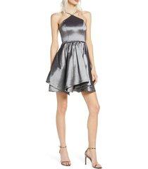 women's sequin hearts taffeta party dress, size 9 - grey