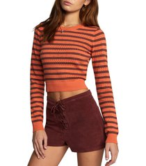 rvca x camille rowe paris crop pointelle cotton sweater, size small in spiced coral at nordstrom