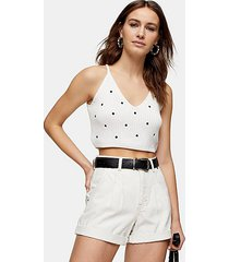 considered balloon roll hem white denim shorts - white