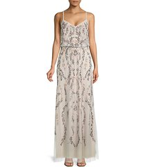beaded floral blouson gown
