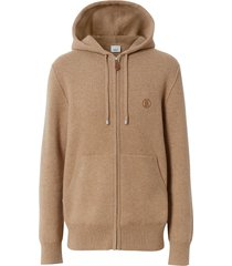 burberry embroidered monogram zipped hoodie - neutrals