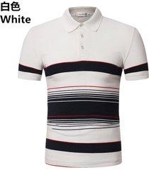 camiseta de solapa de casual tops hombre los hombres verano de top-blanco