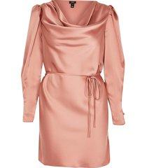 river island womens petite pink cowl neck tie waist mini dress