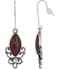 2028 sterling silver wire genuine stone carnelian earrings