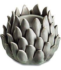 porta velas cerâmica cinza 9,5cm mart