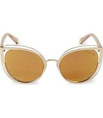 roberto cavalli women's 56mm cat eye sunglasses - yellow