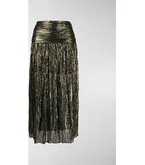 saint laurent metallic pleated midi skirt