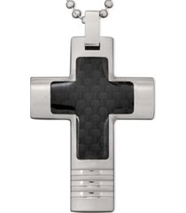 men's stainless steel necklace, black carbon fiber cross pendant