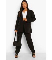 petite blazer en pantalons met v-taille, black