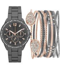 jessica carlyle women's gunmetal-tone bracelet watch 34mm gift set