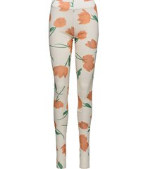 printed mesh leggings creme ganni