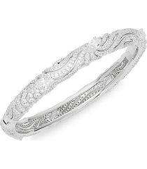 lush white-rhodium plated & crystal embossed bangle bracelet