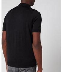 john smedley men's payton 30 gauge merino short sleeve polo shirt - black - xl - black