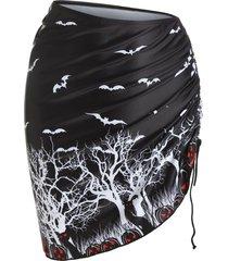 halloween pumpkin bat print cinched cover up skirt