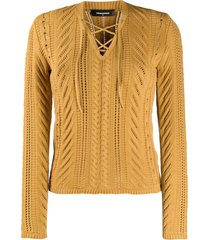 dsquared2 open knit lace up top - neutrals
