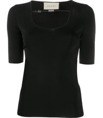 gucci buckle-strap ribbed t-shirt - black