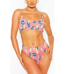 neon tropical shirred crop bikini, coral