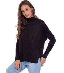 blusa myah catharine preto gola alta em tricô