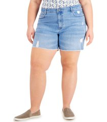 style & co plus size high-rise cut-off denim shorts, created for macy's