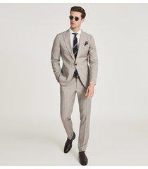 reiss skip - textured slim fit blazer in oatmeal, mens, size 46