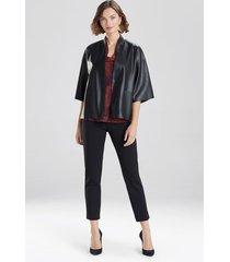 natori faux leather cropped kimono coat, women's, black, size xs natori