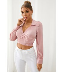 yoins pink crossed front tie-up design cuello en v profundo manga larga crop top