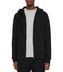 allsaints raven slim fit zip hoodie, size xx-large in black at nordstrom