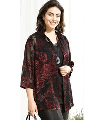 blouse m. collection zwart::rood